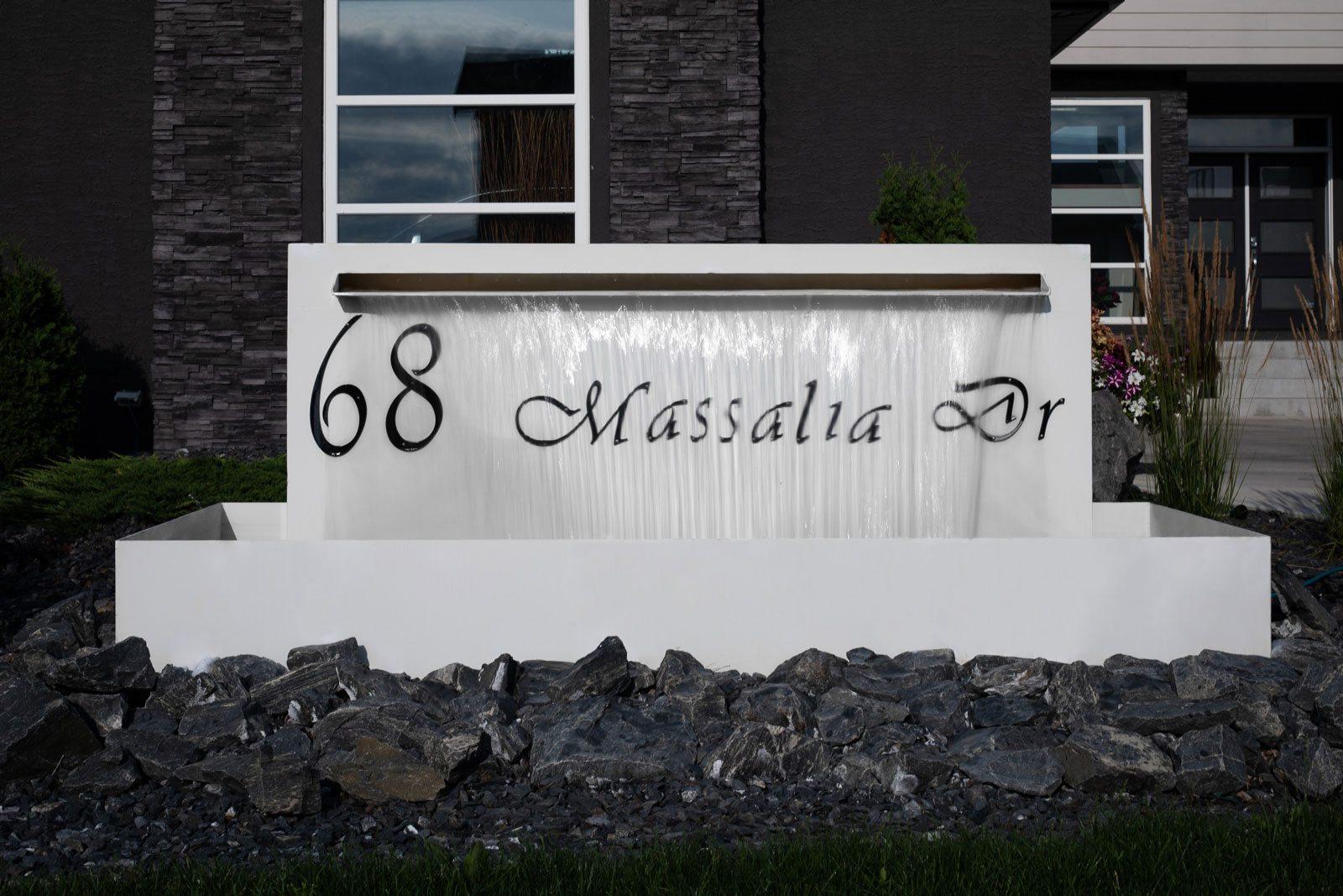 Vivid House Number | Custom Residential House Signs | 68 Massalia Drive | Black Finish | Custom White Fountain Fixture