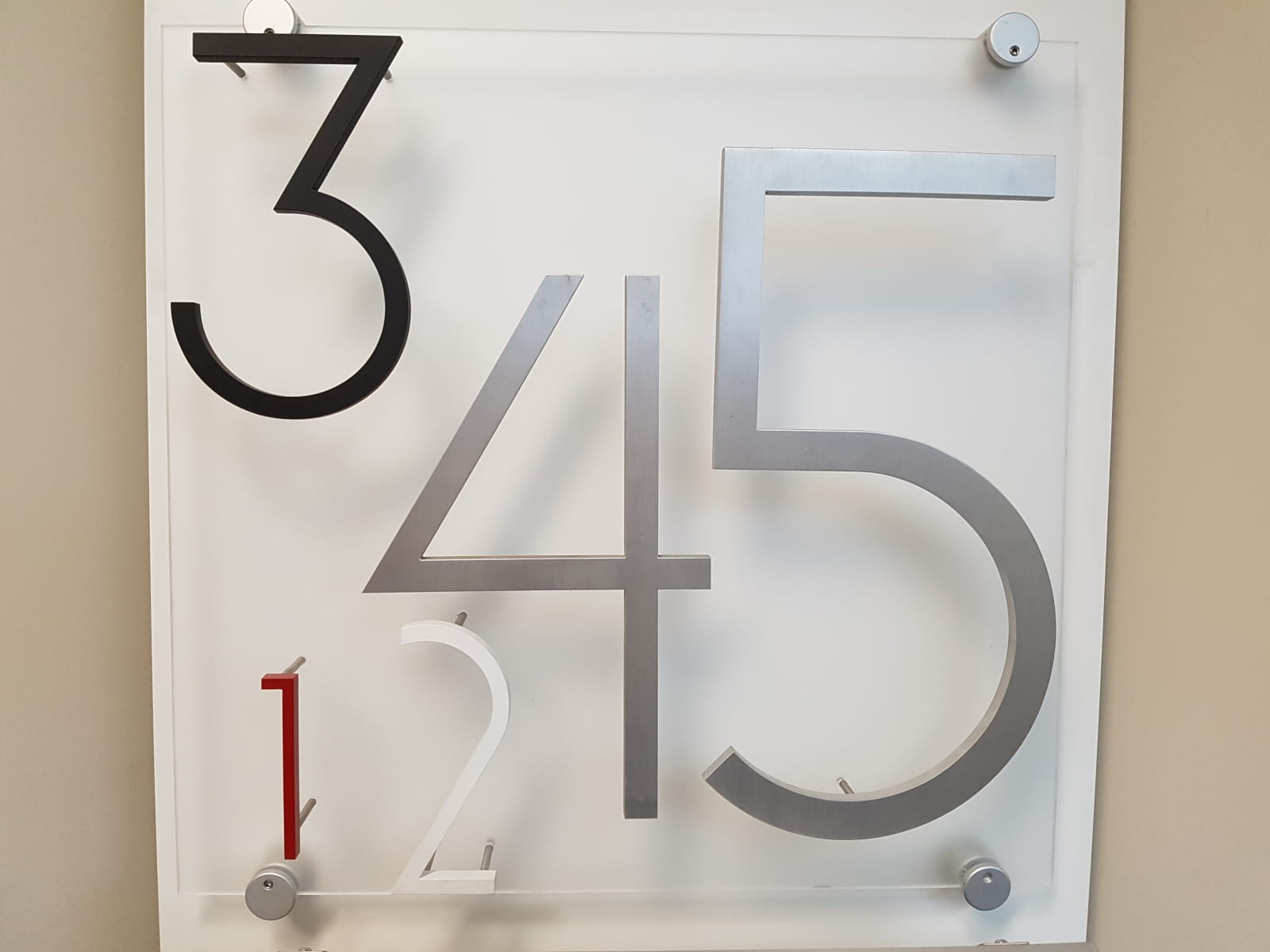 Vivid House Number | Custom Commercial Sign | Selection of numbers on a wooden sign | Black and Blue Finish |