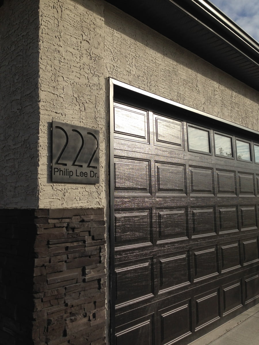 Vivid House Number | Residential House Signs | 222 Philip Lee Dr Cutout on an aluminum plate | Exterior Residential Wall