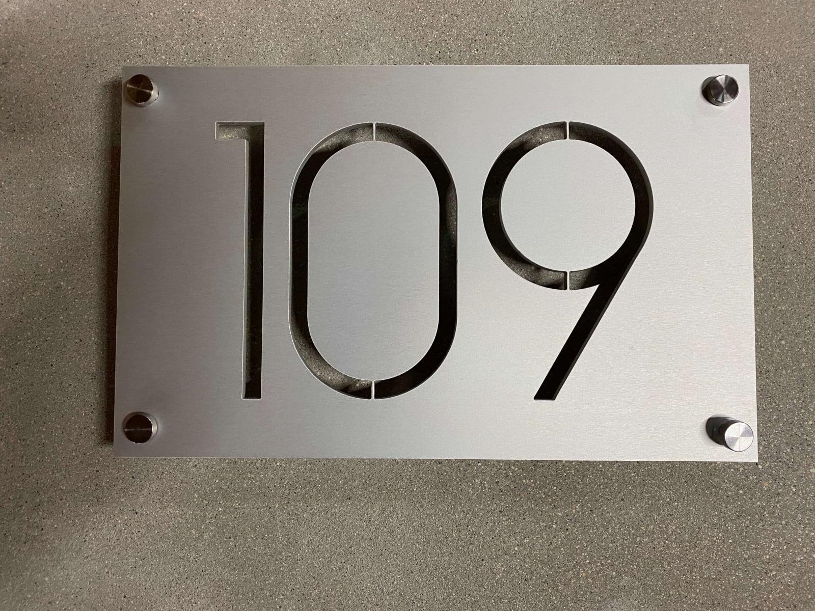 Vivid House Number | Custom Residential Address Signs | Number 109 | Aluminum Finish