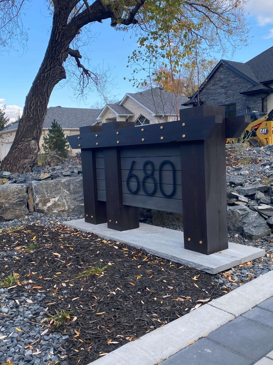 Vivid House Number | Custom Residential House Signs | Number 680 | Black Finish on a custom made lawn sign