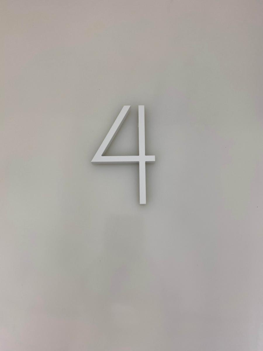 Vivid House Numbers | Residential House Sign | Number 4 | White Finish on a white wall