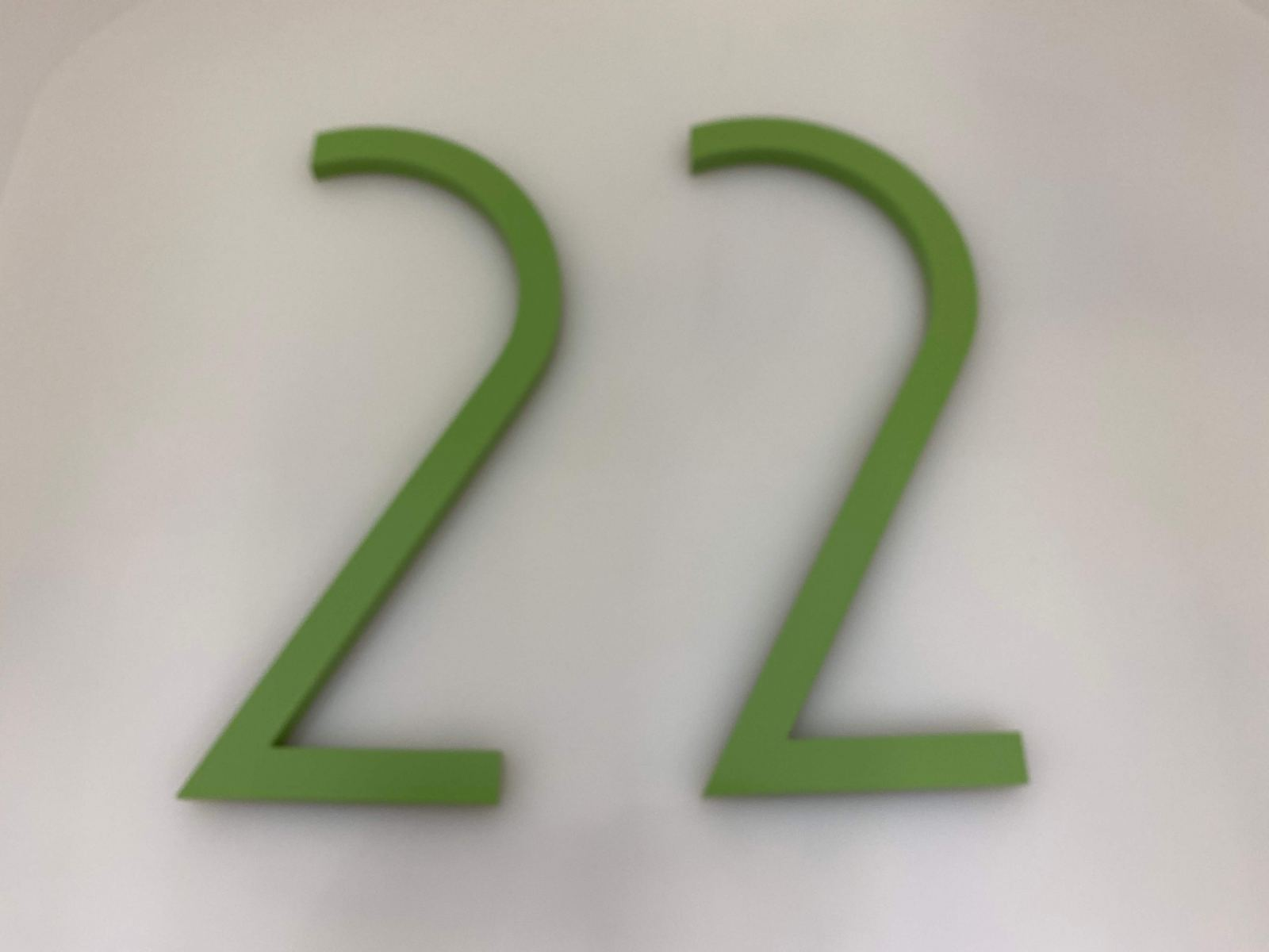 Vivid House Number | Residential House Signs | Number 22 | Brushed Green Finish