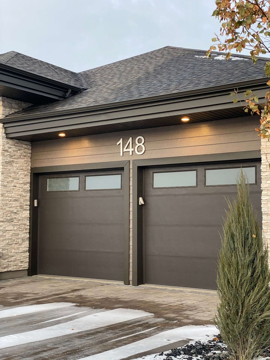 Vivid House Number | Custom Residential House Signs| Number 148 on an exterior house | Brushed Aluminum Finish
