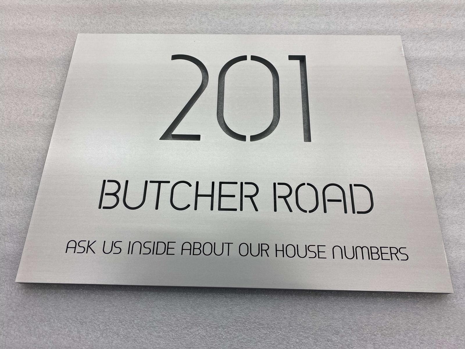 Vivid House Number | Custom Residential Address Signs | 201 Butcher Road | Aluminum Finish