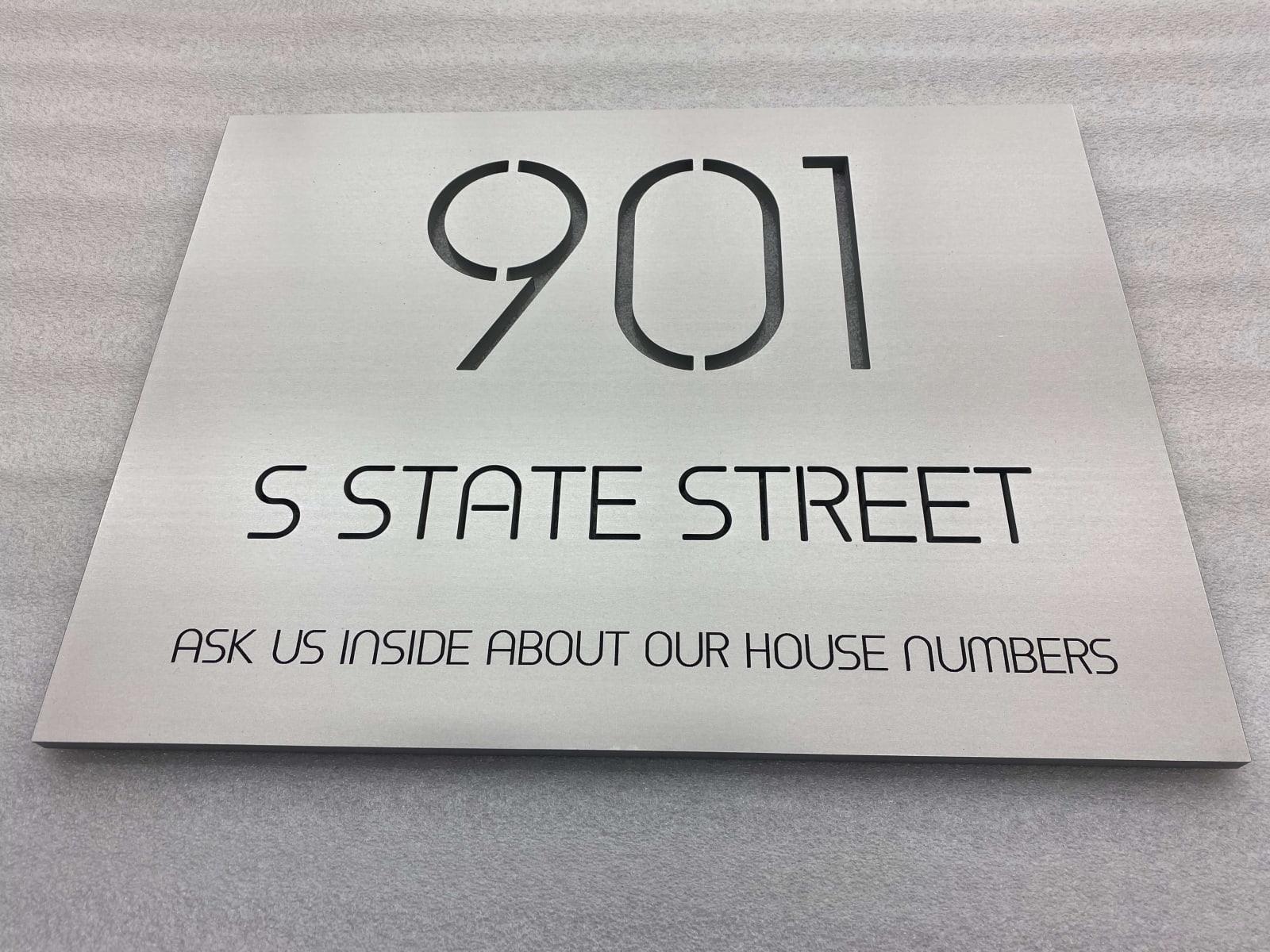 Vivid House Number | Custom Residential Address Signs | 901 S State Street | Aluminum Finish