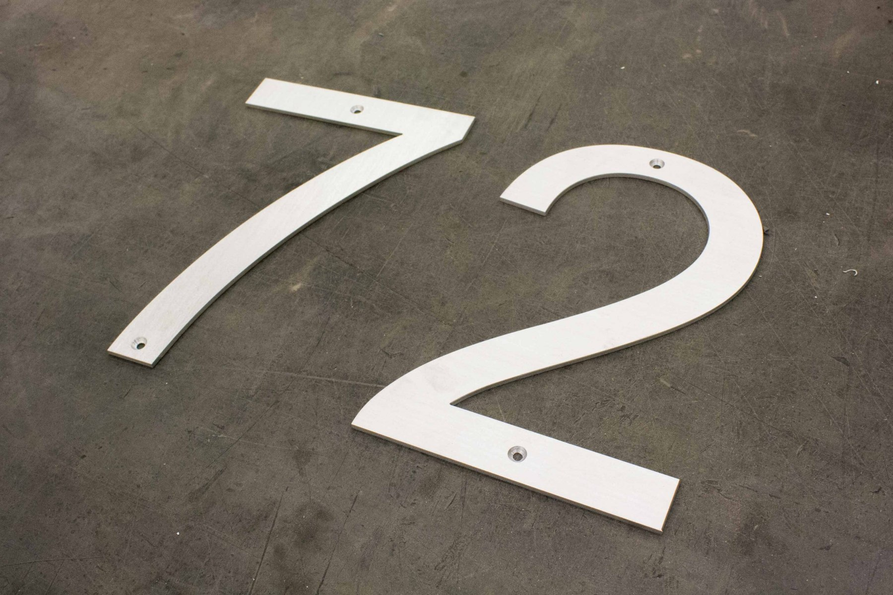 Vivid House Number | Custom Residential House Signs| Number 72 | Brushed Aluminum Finish on the floor