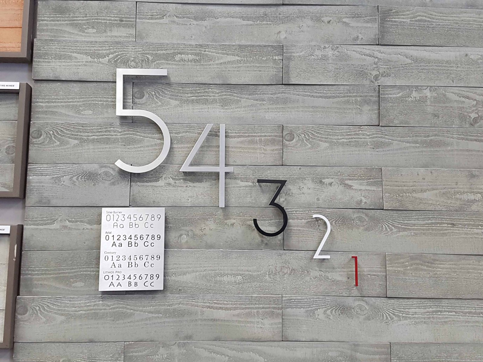 Vivid House Number | Custom Commercial Showcase Signs| Number 54321 | Brushed Aluminum Finish | Customs Number on a decreasing size
