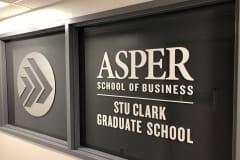 Vivid House Number | Commercial House Sign | Asper School of Business STU Clark Graduate School | Aluminum finish on a black window
