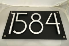 Vivid House Number | Residential House Signs | Number 1584 | Brushed White Finish | Custom black plate