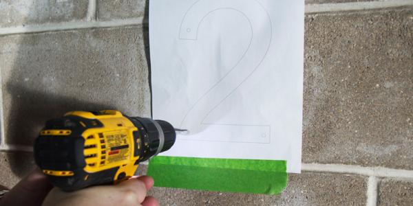 House numbers installation - Step 2: Drill holes